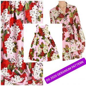 Dolce Gabbana Silk Geranium Design Fabric
