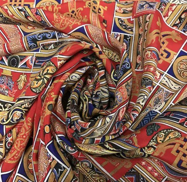Etro Silk New Collection Double Crepe Ethnic Design Fabric