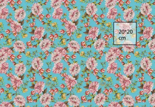 Italian Designer Cotton Poplin Flowers print fabric