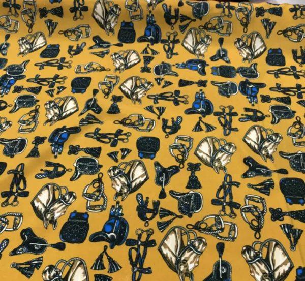 Hermes Horse Print Silk Fabric