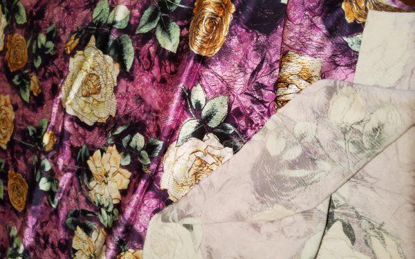 20200802 194706 Emanuel Ungaro Silk Fabric,Digital Inkjet Paint,Heavy Non Stretch Silk Floral Design/Purple base Flowers pattern 1