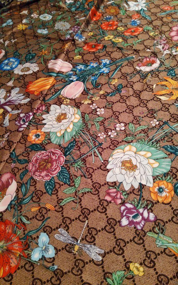 Gucci Flowers Fabric Logo Inkjet Print Wonderful