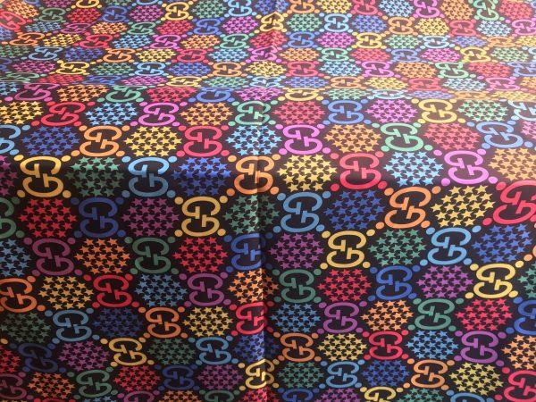 IMG 5590 Gucci Silk Colourful Logo Fabric/Incredible Silk Gucci Clothing Fabric 1