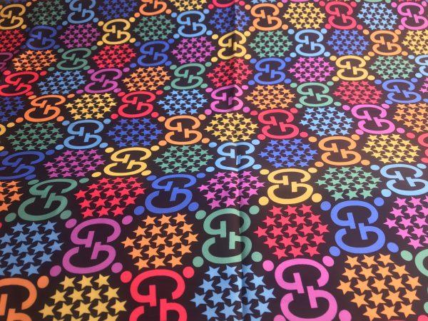 IMG 5591 Gucci Silk Colourful Logo Fabric/Incredible Silk Gucci Clothing Fabric 2