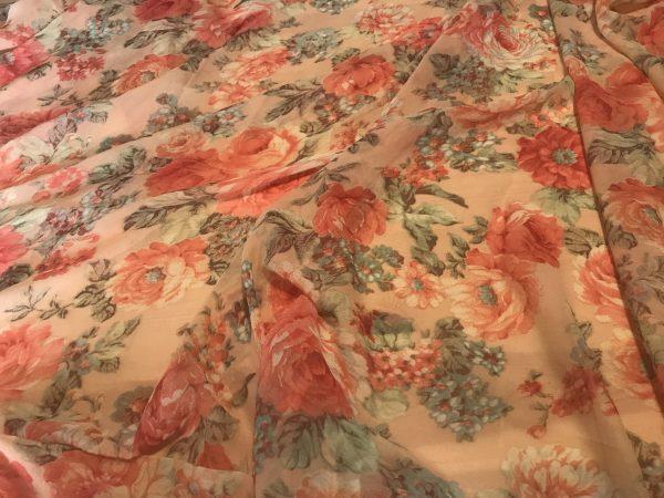 Italian Designer Chiffon Roses Print Fabric