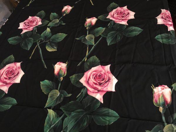 Dolce Gabbana Silk Crepe Rose Print New