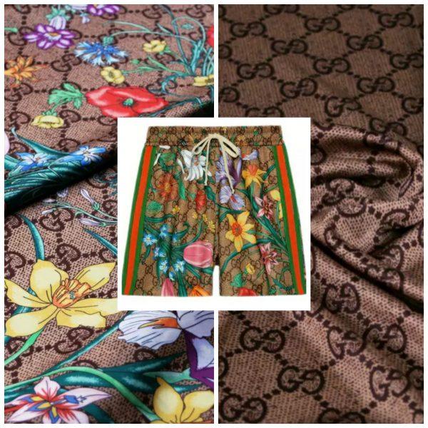 Gucci Flowers Fabric Logo Inkjet Print