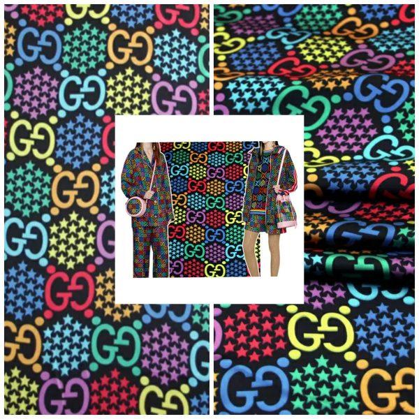 Gucci Silk Colourful Logo Fabric