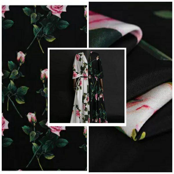 Dolce Gabbana Silk Crepe Rose Print