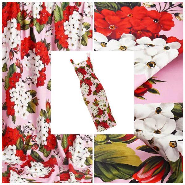 DG chiffon Geranium pattern print