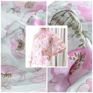 Elegant Silk Chiffon with inkjet flowers/Designer Italian Silk Chiffon Lightweighted,thin,soft