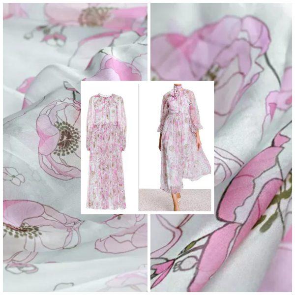 Elegant Silk Chiffon with inkjet flowers