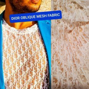 Dior Oblique Mesh Fabric/Dior Jersey Lace Logo stretch fabric/Fashion week Dior Oblique/Colour #1 White also available in Black