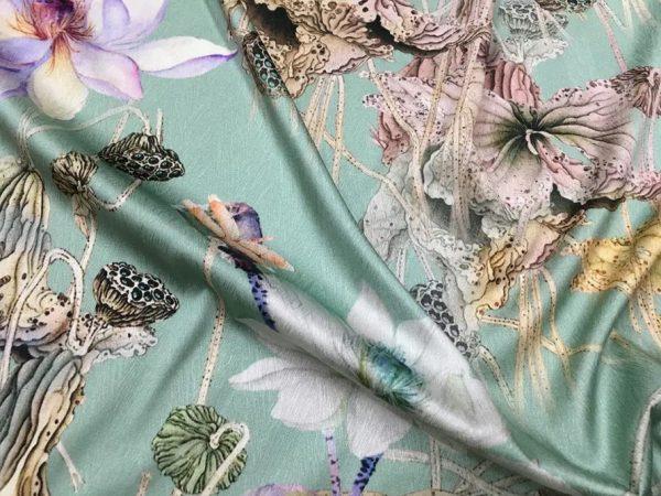 20200811 022742 Emanuel Ungaro Silk Fabric/Stretch silk floral ornament Lilies Pattern Digital inkjet technique New Collection silk 4