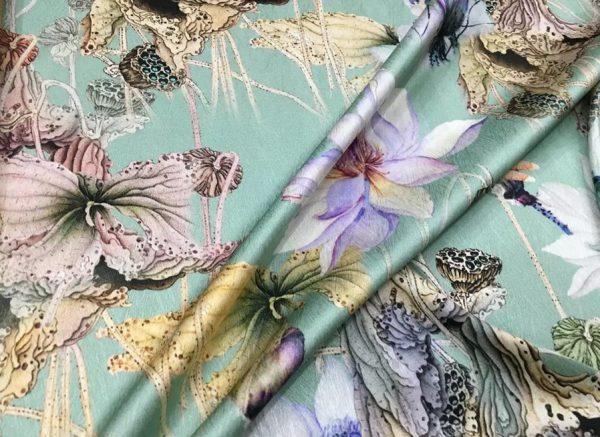 20200811 022837 Emanuel Ungaro Silk Fabric/Stretch silk floral ornament Lilies Pattern Digital inkjet technique New Collection silk 2