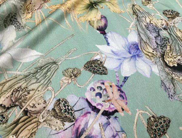 20200811 022848 Emanuel Ungaro Silk Fabric/Stretch silk floral ornament Lilies Pattern Digital inkjet technique New Collection silk 3