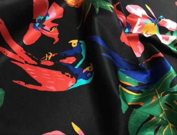 20200811 025037 Silk fabric Banana leaf parrot print and pineapple design Fashion week Fabric 5