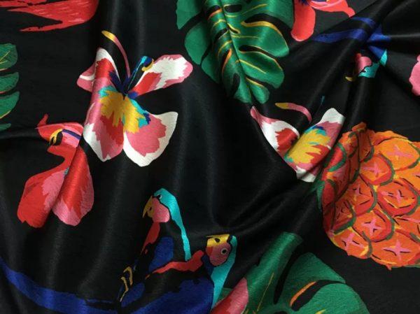 20200811 025107 Silk fabric Banana leaf parrot print and pineapple design Fashion week Fabric 2