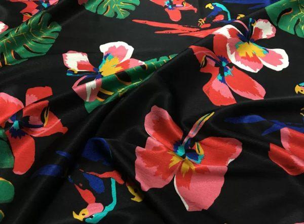 20200811 025142 Silk fabric Banana leaf parrot print and pineapple design Fashion week Fabric 4