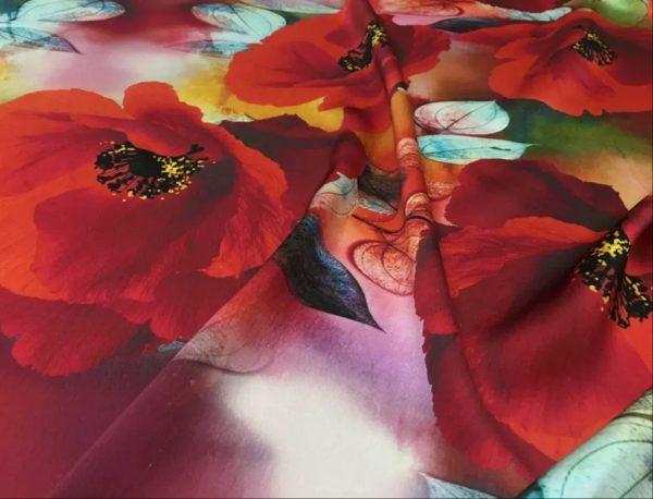 Emanuel Ungaro Silk Poppy design fabric