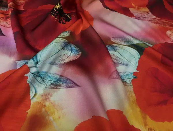 20200811 035230 Emanuel Ungaro Silk Poppy design fabric/Heavy Silk 40 momme poppies pattern/New Collection Italian Designer Silk Fabric 8