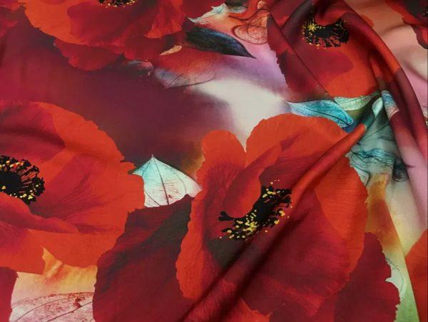 20200811 035238 Emanuel Ungaro Silk Poppy design fabric/Heavy Silk 40 momme poppies pattern/New Collection Italian Designer Silk Fabric 2