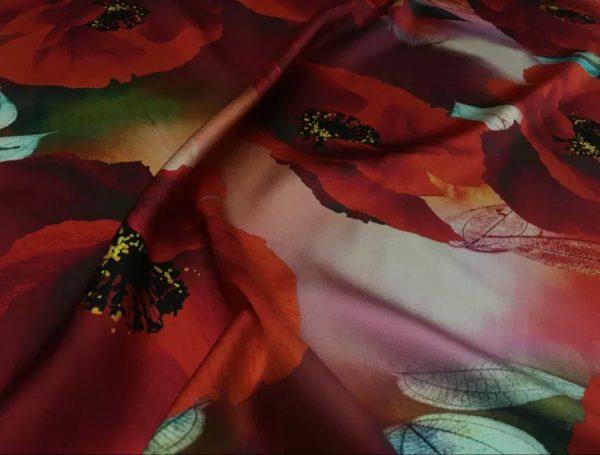 20200811 035254 Emanuel Ungaro Silk Poppy design fabric/Heavy Silk 40 momme poppies pattern/New Collection Italian Designer Silk Fabric 5