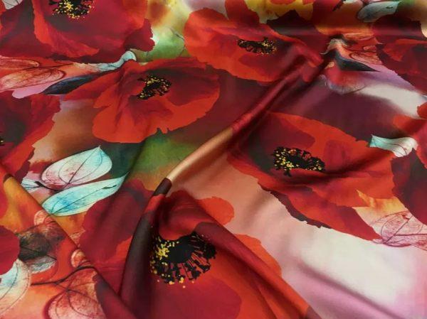 20200811 035403 Emanuel Ungaro Silk Poppy design fabric/Heavy Silk 40 momme poppies pattern/New Collection Italian Designer Silk Fabric 3