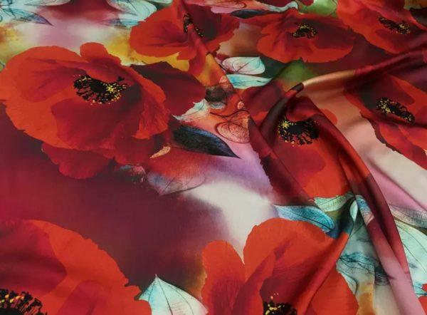 20200811 035416 Emanuel Ungaro Silk Poppy design fabric/Heavy Silk 40 momme poppies pattern/New Collection Italian Designer Silk Fabric 7