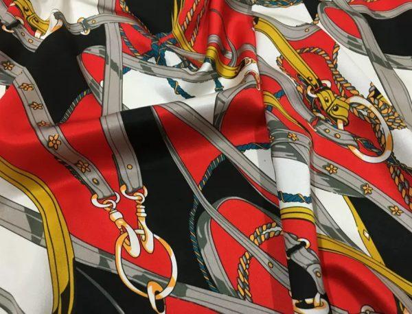 20200811 043050 Silk fabric classic pattern /New Collection chain belt print pattern fabric/Catwalk fabric digital inkjet technique beautiful silk 2