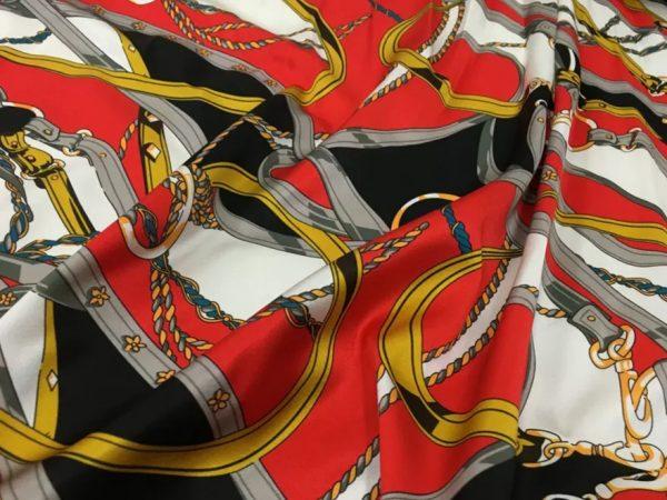 20200811 043146 Silk fabric classic pattern /New Collection chain belt print pattern fabric/Catwalk fabric digital inkjet technique beautiful silk 1