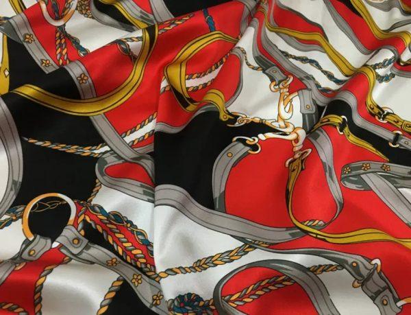 20200811 043202 Silk fabric classic pattern /New Collection chain belt print pattern fabric/Catwalk fabric digital inkjet technique beautiful silk 5