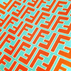 Fendi Fabric Turquoise base Red Brick logo