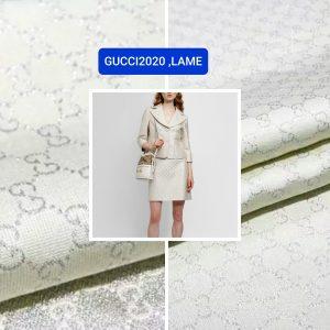 Gucci 2020 Fabric/Milan Fashion Show Gucci Spring/Gucci silver yarn Fabric/Gucci blazer fabric,Gucci Suit,jacket fabric/Gucci Fabric New Collection colour #6 OFF WHITE YARN