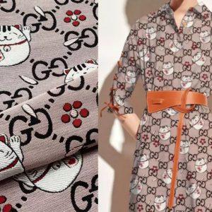 Gucci fabric cat design New Collection/Gucci brocade fabric/Gucci logo and cat pattern Designer fabric
