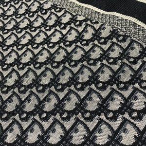 Dior Oblique Jacquard Fabric/New Collection Dior Brocade colour #5 Gray Base Dark Blue and Black Logo/ 77/150cm(30/59 inches)
