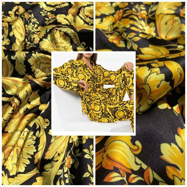 Versace Baroque pattern gold on black Silk