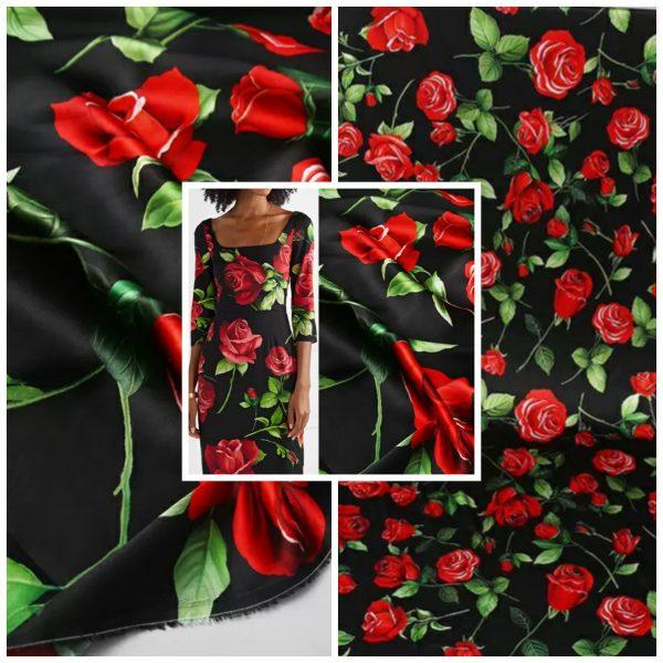 Dolce Gabbana Silk Red roses pattern fabric