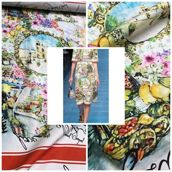 Dolce Gabbana Cotton fabric Sicily pattern