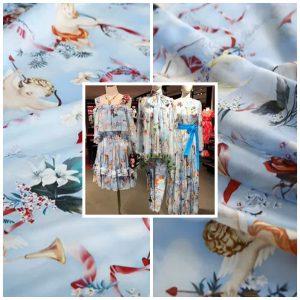 Silk chiffon fabric cherubs pattern/angel print chiffon/renaissance design Italian Designer Fabric