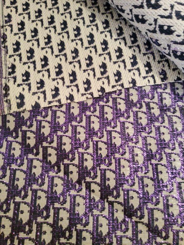 Dior Oblique Very Stiff Jacquard Silver Yarn Shiny Purple