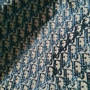 Dior Oblique Very Stiff Jacquard Silver Yarn Shiny Blue