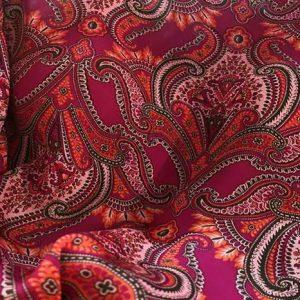 Etro Paisley design Silk double Satin Fabric/2021 Etro Silk Satin Fabric/Italian Designer Paisley Pattern