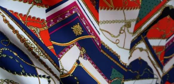 Italian Silk Fabric Chain Print Pattern