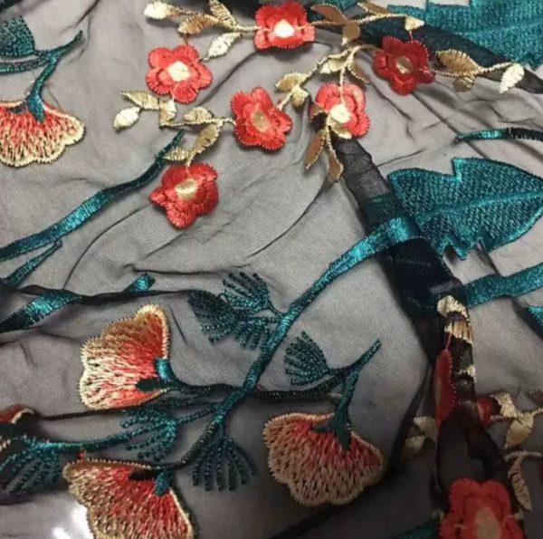Italian Designer Mesh Fabric Embroidery