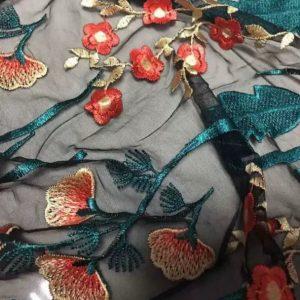 Italian Designer Mesh Fabric Embroidery/2021 Embroidered Fabric/Silk embroidery floral design fabric