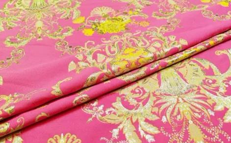 Dolce Gabbana Fabric Jacquard Woven Damask Brocade Italian Designer Fabric/Fashion week fabric,colour Pink Gold yarn#2 also available in Royal blue