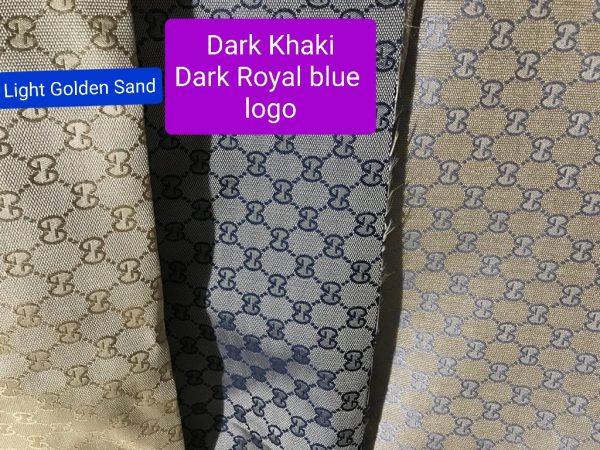 20200926 203637 RARE Gucci Jacquard Monogram Print dark Khaki Designer Fabric/Jacket Jacquard Fabric/Jacquard Couture Fabric Various Colours Available 1