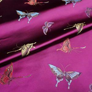 Valentino Italian Designer Fabric Silk Satin Butterfly Pattern/Valentino fashion Week Fabric New Collection Italian Fabrics/Valentino new collection fabric butterfly embroidery heavy silk colour#3