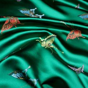 Valentino Italian Designer Fabric Silk Satin Butterfly Pattern/Valentino fashion Week Fabric New Collection Italian Fabrics/Valentino new collection fabric butterfly embroidery heavy silk colour#4